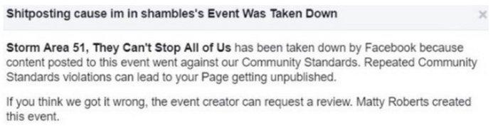 Штурма не будет? Facebook удалил событие о -Зоне-51-