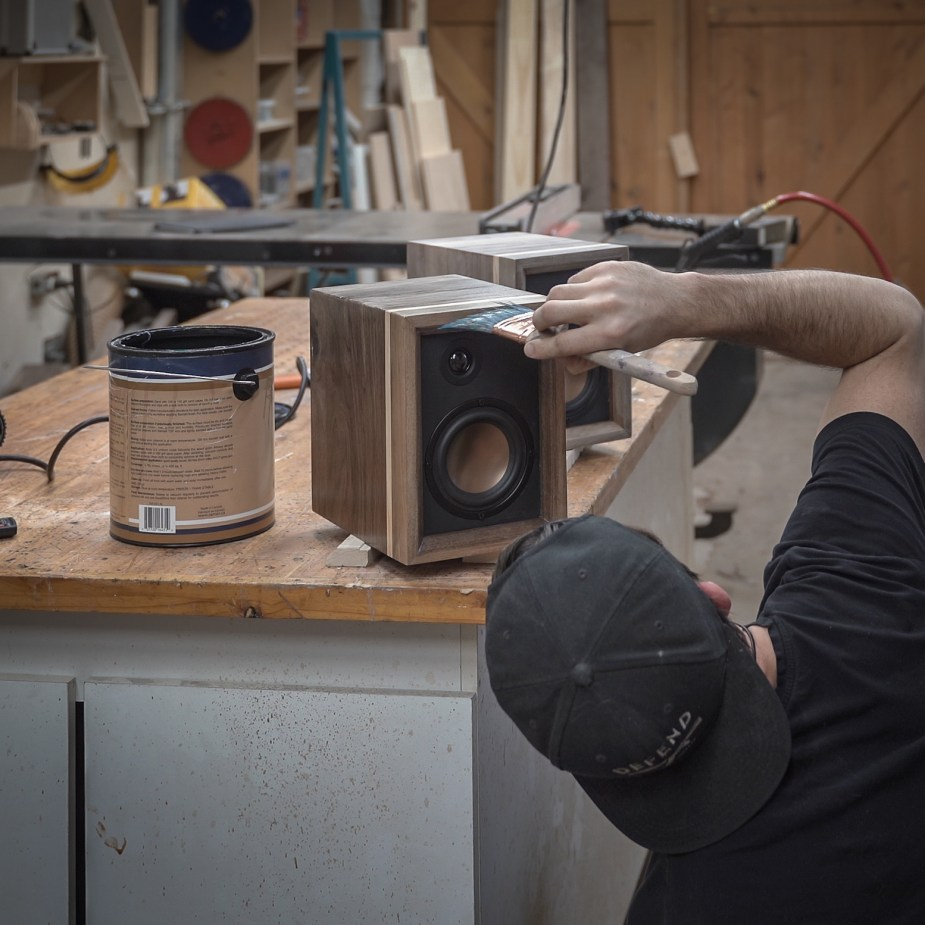 Walnut and Copper Speakers -