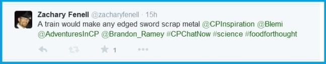 Train + sword = scrap metal