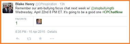 Anti-bullying focus chat April 22nd