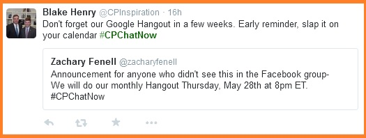 CPChatNow May Hangout reminder