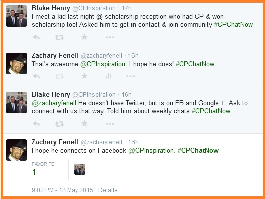 Spreading word about #CPChatNow
