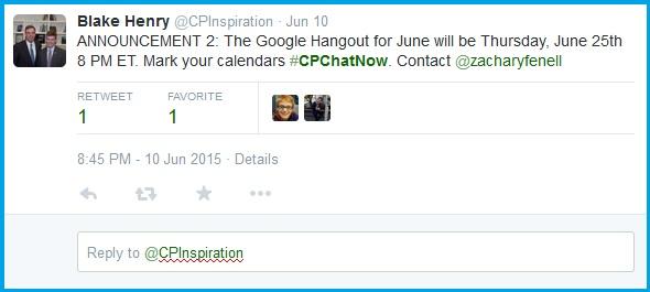 June #CPChatNow Google Hangout