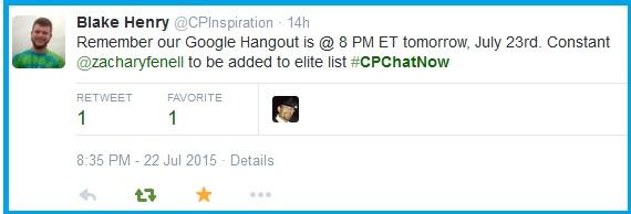July #CPChatNow Google Hangout reminder