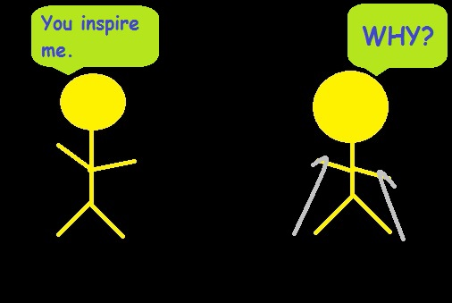 Stick figures discuss inspiration.