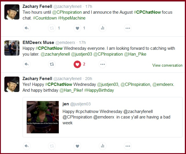 Hype for the live weekly cerebral palsy Twitter chat #CPChatNow.