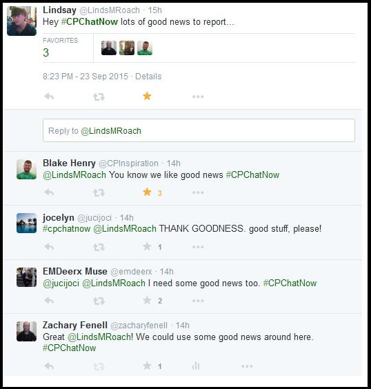 Lindsay has good news for #CPChatNow.