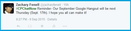 September 2015 Google Hangout reminder