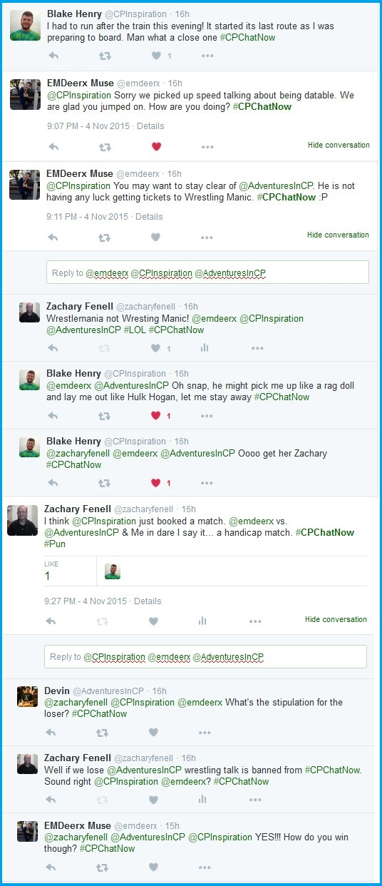 #CPChatNow members engage in friendly banter.