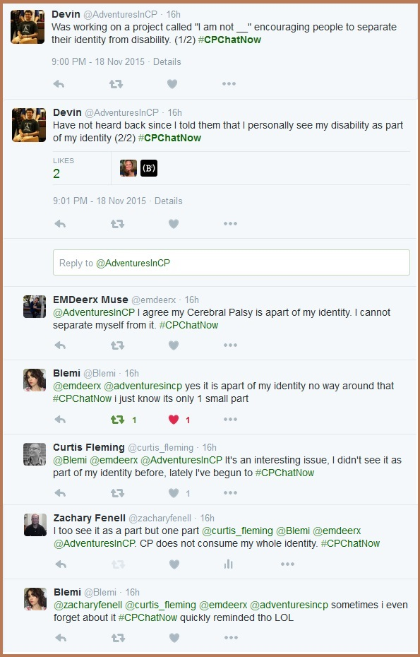 The #CPChatNow community discuesses whether they see cerebral palsy as part of who they are.