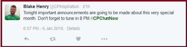 January 2016 #CPChatNow announcements coming!