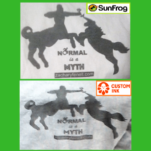 A side by side comparison showing the difference in quality between Sunfrog Shirts and Customink Fundraising.