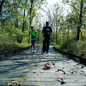 After completing the half marathon course for the Towpath Marathon Sean journeyed back to walk with James and myself.