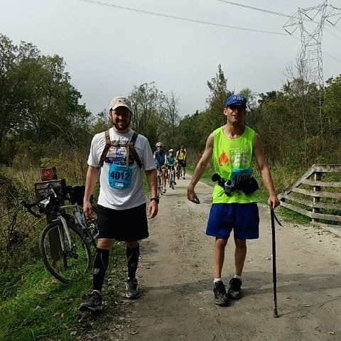 On the Towpath Marathon course side by side with my friend and race sponsor Team IBB President James Schleicher.