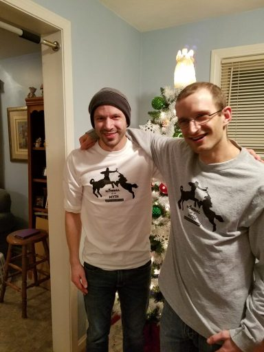 "My younger brother and I proudly wearing our ""Normal is a myth"" shirts."