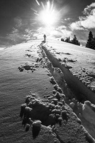 Grete Breaking Trail up Raymond