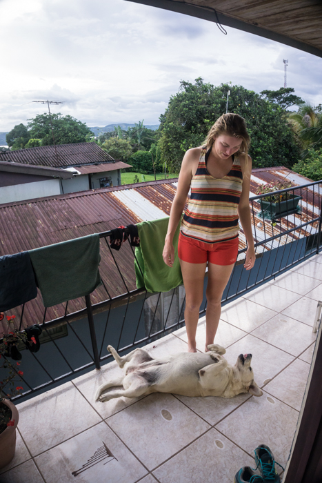 Grete and Our Stray Dog Friend in Nuevo Arenal
