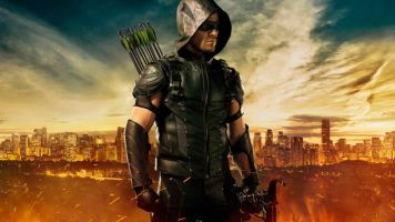 Arrow with city in background
