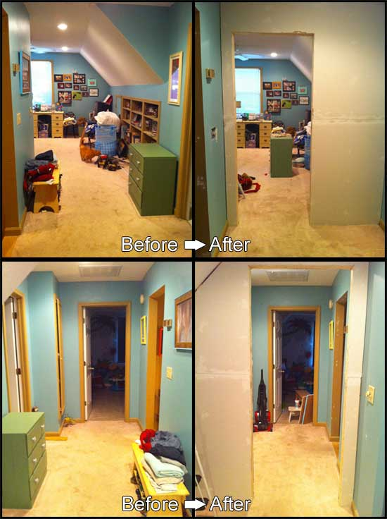 Upstairs, before and after the wall