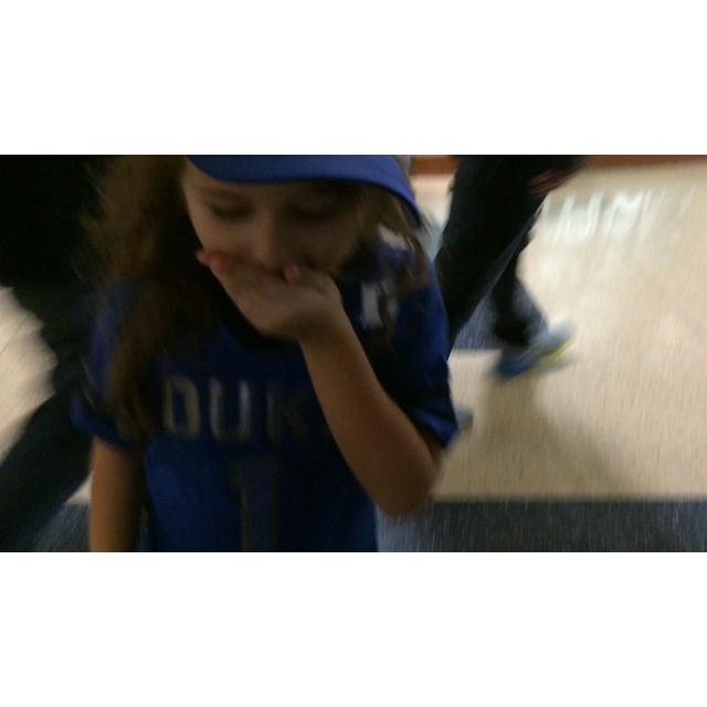Milly's first time stepping into Cameron for her first ever #Duke game. #GoDuke #Meliamae