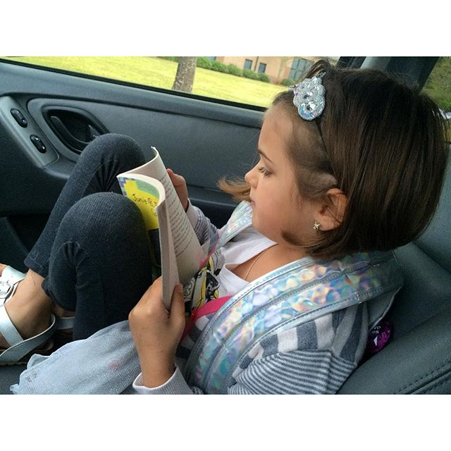 Little Reader read to me the whole way to school and while we waited in the drop off line. #Meliamae
