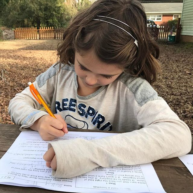 Homework outside in the middle of January. (We need to rake.)