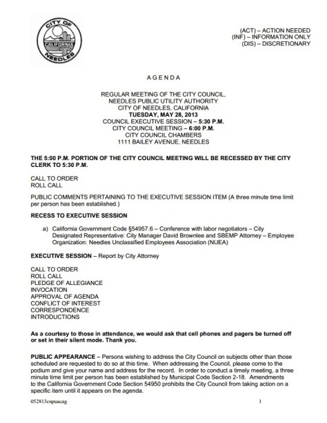 Needles City Council- Picture- Tuesday, May 28th, 2013