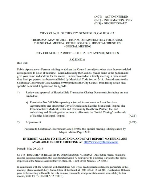 Special Meeting- Board of Hospital Trustees and Needles City Council- Picture- Thursday, May 30th, 2013