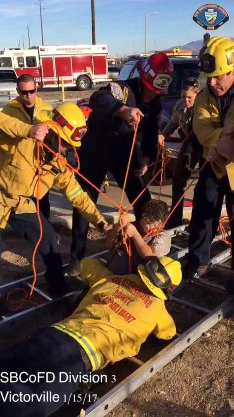 Victorville, CA: Firefighters rescue child who fell into a