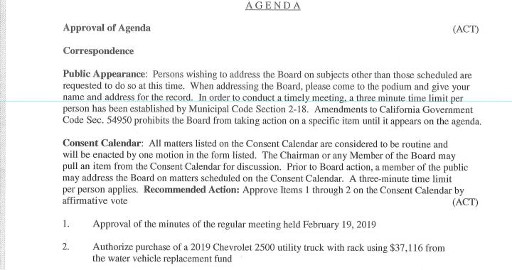 Needles, CA: Needles Board of Public Utilities Meeting on Tuesday.