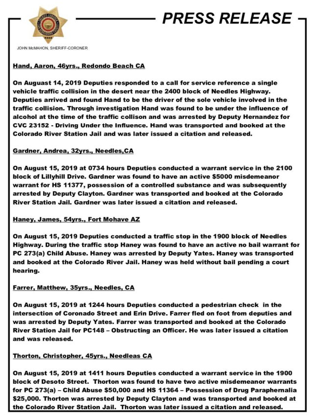 Needles, CA: Weekly Arrests Press Release from the San