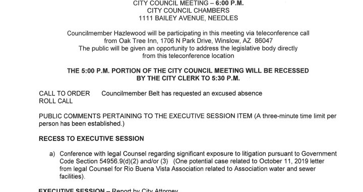 Needles, CA: Needles City Council Meeting is today.