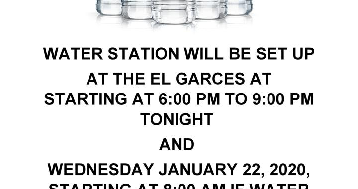 News Alert: Downtown Needles, CA: Water station set up tonight and Wednesday at the El Garces Train Depot due to water line break underneath Lillyhill Drive bridge.