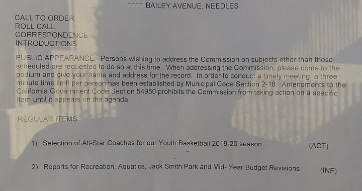 Needles, CA: Needles Recreation and Parks Commission Meeting is today.