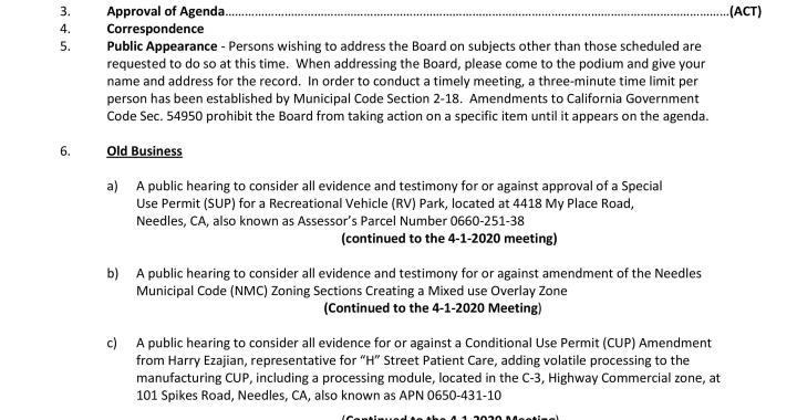 Needles, CA: Needles Planning Commission Meeting on Wednesday.