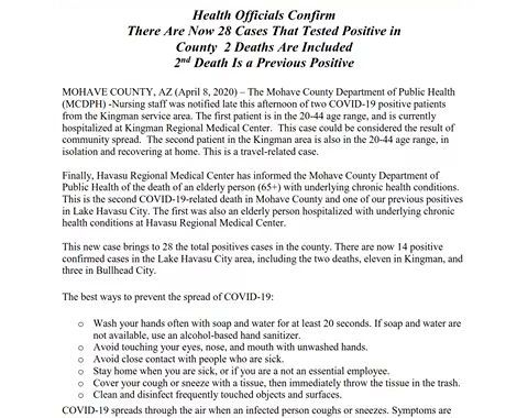 News Update: Mohave County, AZ: COVID-19 Information; Positive Cases: 28 and Deaths: 2.