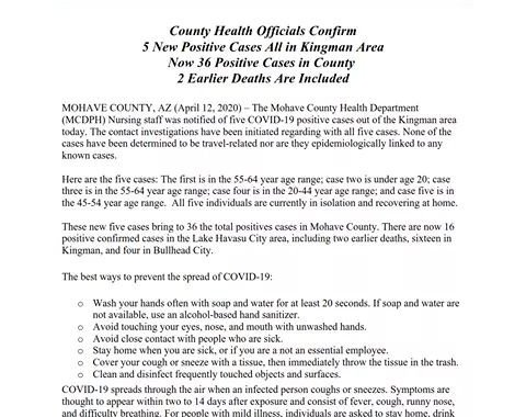 News Update: Mohave County, AZ: COVID-19 Information; Positive Cases: 36 and Deaths: 2.