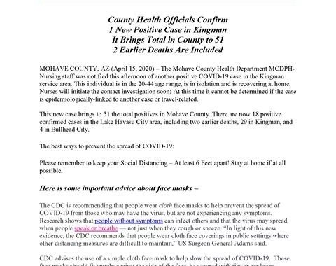 News Update: Mohave County, AZ: COVID-19 Information; Positive Cases: 51 and Deaths: 2.