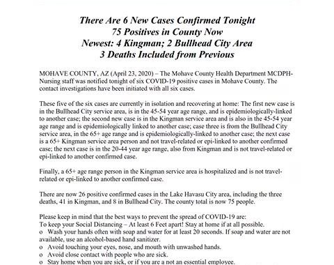 News Update: Mohave County, AZ: COVID-19 Information; Positive Cases: 75 and Deaths: 3.