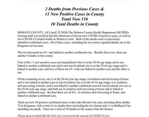 News Update: Mohave County, AZ: COVID-19 Information; Positive Cases: 116 and Deaths: 10.