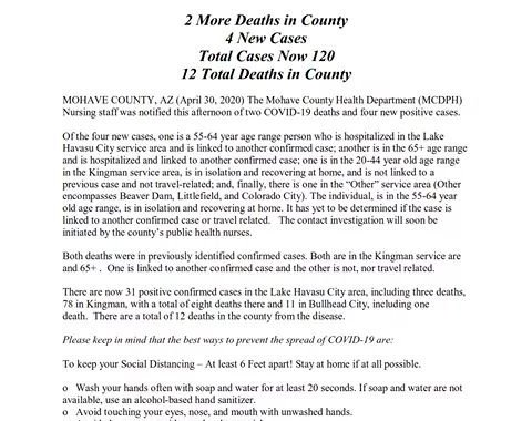 News Update: Mohave County, AZ: COVID-19 Information; Positive Cases: 120 and Deaths: 12.