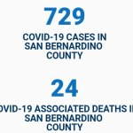 News Update: San Bernardino County, CA: COVID-19 Information; Positive Cases: 729 and Deaths: 24.