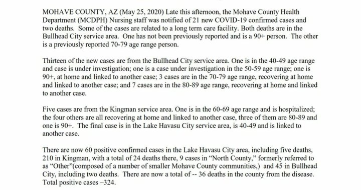 News Update: Mohave County, AZ: COVID-19 Information; Positive Cases: 324 and Deaths: 35.