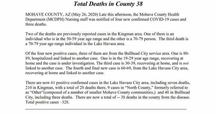 News Update: Mohave County, AZ: COVID-19 Information; Positive Cases: 328 and Deaths: 38.