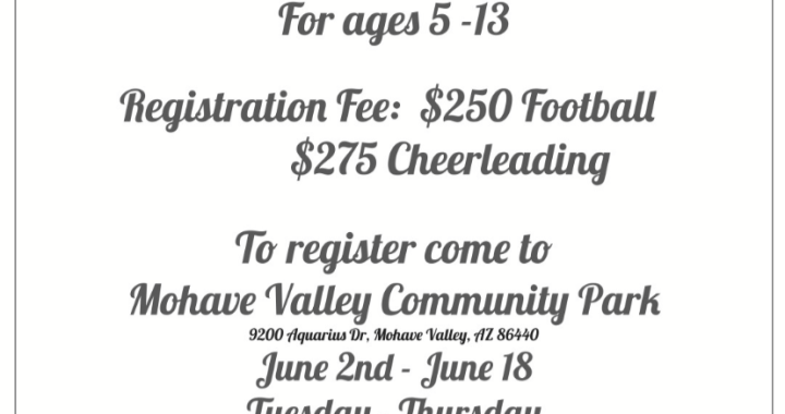 Mohave Valley, AZ: Come and register your kids for River Valley Devils' Youth Football and Cheerleading.