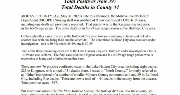 News Update: Mohave County, AZ: COVID-19 Information; Positive Cases: 397 and Deaths: 44.