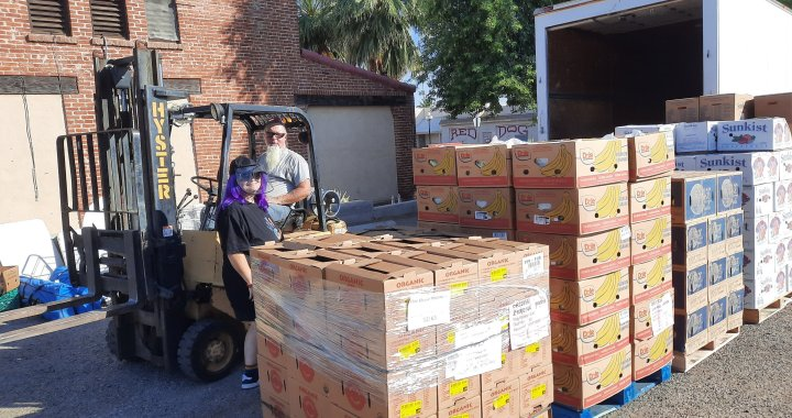 Downtown Needles, CA: Firehouse Ministries' Addie's Mobile Pantry welcomes all to come and pick up free food on Saturday.