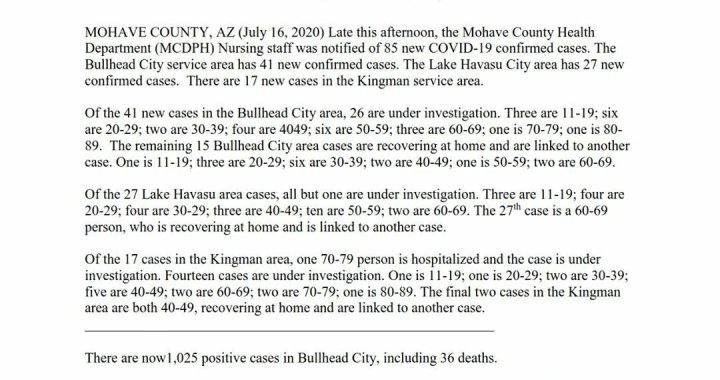 News Update: Mohave County, AZ: COVID-19 Information; Positive Cases: 2,169; Recovered Cases: 581; and Deaths: 96.