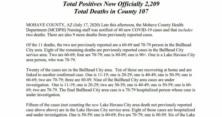 News Update: Mohave County, AZ: COVID-19 Information; Positive Cases: 2,209; Recovered Cases: 581; and Deaths: 107.