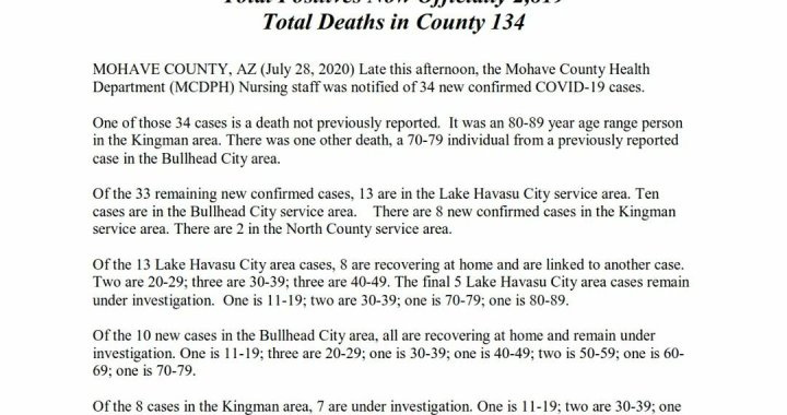 News Update: Mohave County, AZ: COVID-19 Information; Positive Cases: 2,819; Recovered Cases: 962; and Deaths: 134.